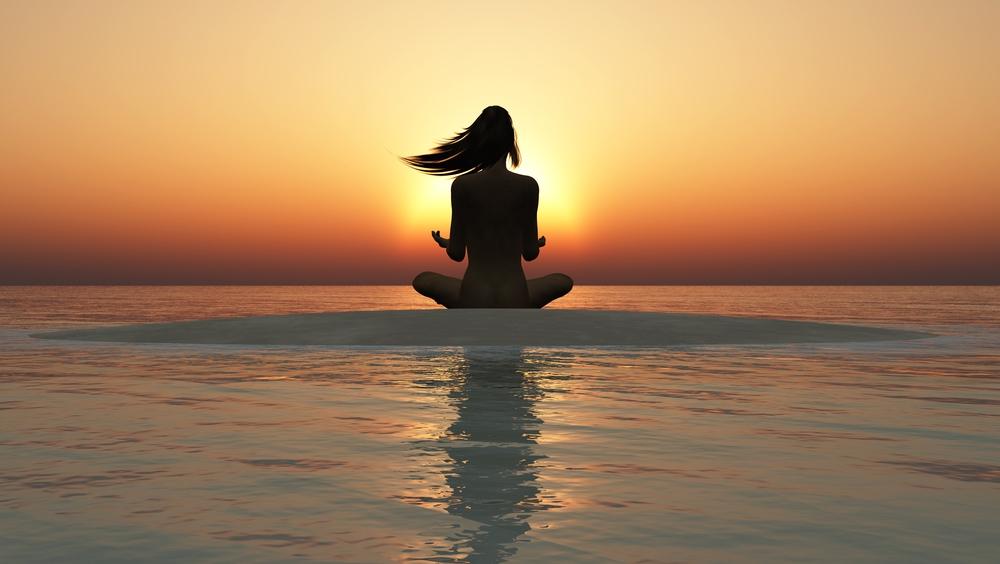 zen stone and summer sunset